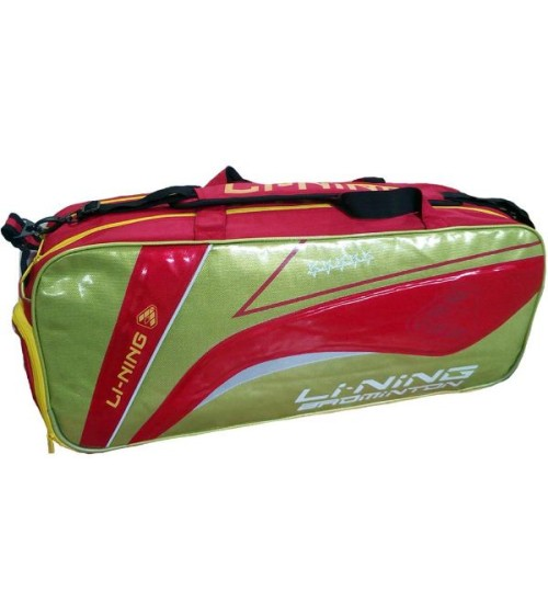 Li Ning ABDH116 3 Badminton Racket Red and Lime kit Bag