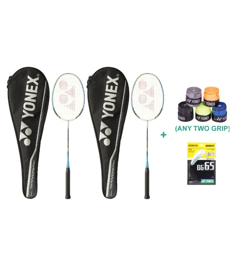 Yonex Nanoray D1 Badminton Raquet Set With Two Overgrip and String