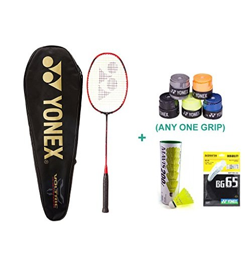 Yonex Voltric 10 DG With Yonex Badminton Overgrip and Racquet String