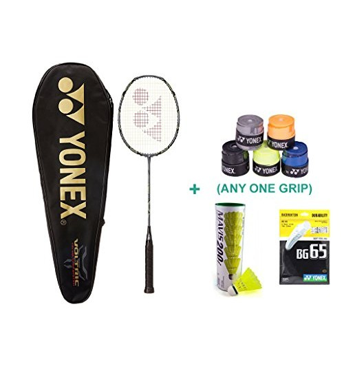 Yonex Voltric 50 E TUNE With Yonex Badminton Overgrip and Racquet String