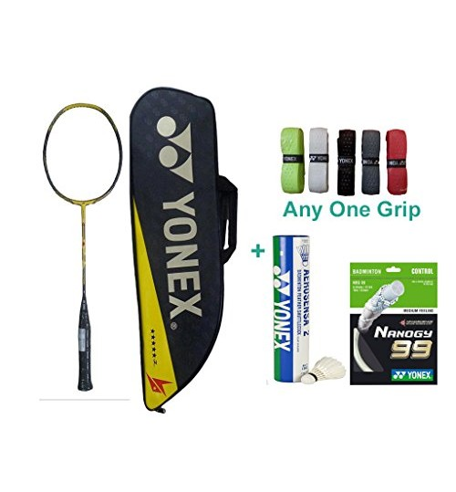 Yonex Voltric Force 2 Lin Dan With Yonex Badminton Overgrip and Racquet String