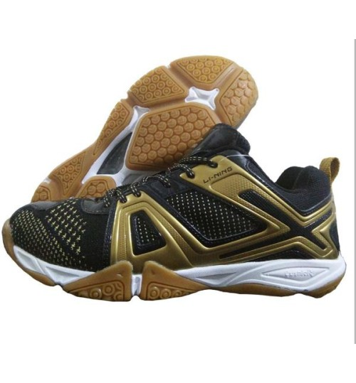 LI NING Omega Badminton Shoes Gold and Black