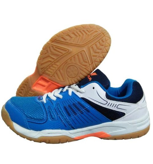 nivia gel verdict white blue orange badminton shoes