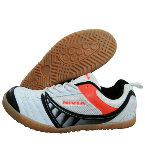 NIVIA Glider White and Black Tennis Shoes