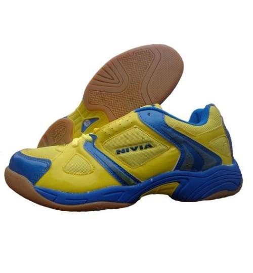 NIVIA New Verdict Yellow and Blue Badminton Shoes