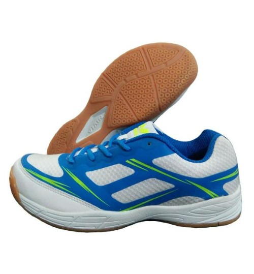 Nivia New Super Court White and Aster Blue Badminton Shoe