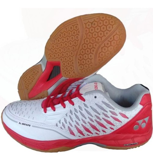 Yonex Court ACE Matrix White and Red Badminton Shoes