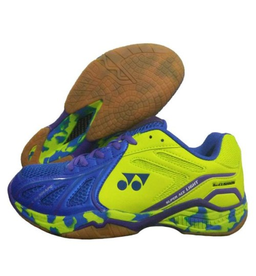 Yonex Super ACE Light Blue and Lime Badminton Shoes