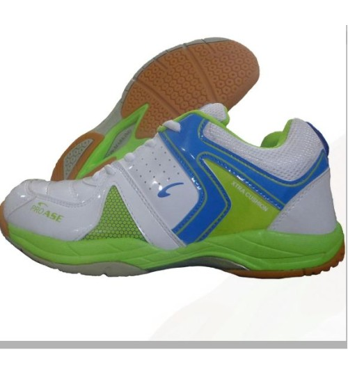 PRO ASE Xtra Cushion Green Badminton Shoe White and