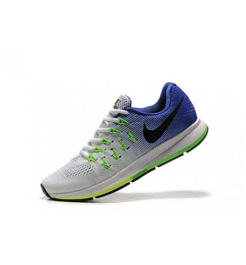 Nike Pegasus 33 White & Blue Sports Shoes