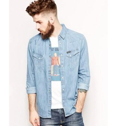 Wrangler Denim Slim Shirt Blue