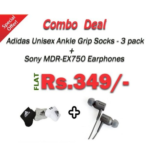 Combo Deal Package : Adidas Socks + Sony Earphones